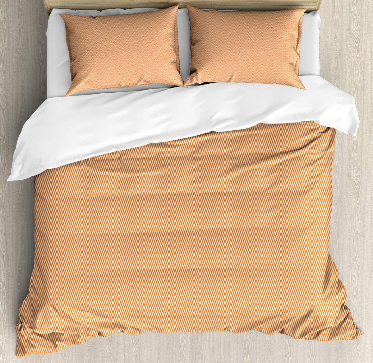 "Duvet Cover Bedding Duvet Cover SetOrange Wavy Stripe Abstract Duvet Cover SetCustom 3 Piece Bedding Set with 2 Pillow Shams,70""x86""/19""x29""inch"