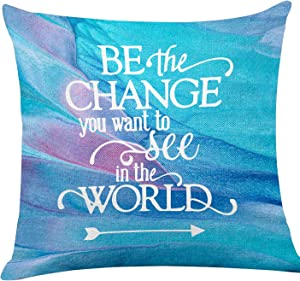 """yuzi-n """"Be The Change You Want to See in The World"""" Inspirational Quote Pillow Covers, Inspirational Pillow Covers Gifts for Kids Girl Sister mom Women, Office Teen Boy Girl Room Sofa Decor"""