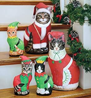 product image for Fiddler's Elbow Mrs. Claus Cat Door Stop | Door Stopper | Interior Christmas Decor | Made in The U.S.A
