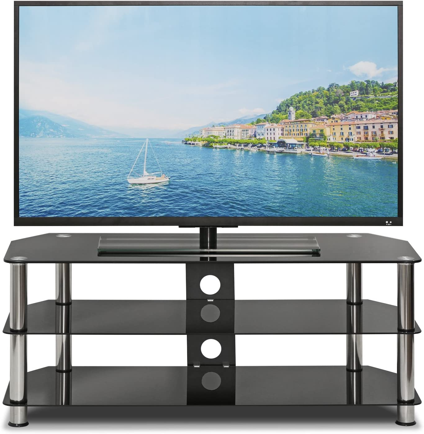 Furinno FRL16M3BK Silk Screen Glass Entertainment Center Rectangle