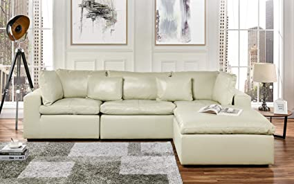 Large Leather Sectional Sofa, L Shape Couch With Wide Chaise (Beige)