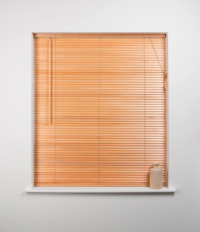 27mm Wood Venetian Blind, Natural, 90cm Wide x 160cm Drop Sunflex