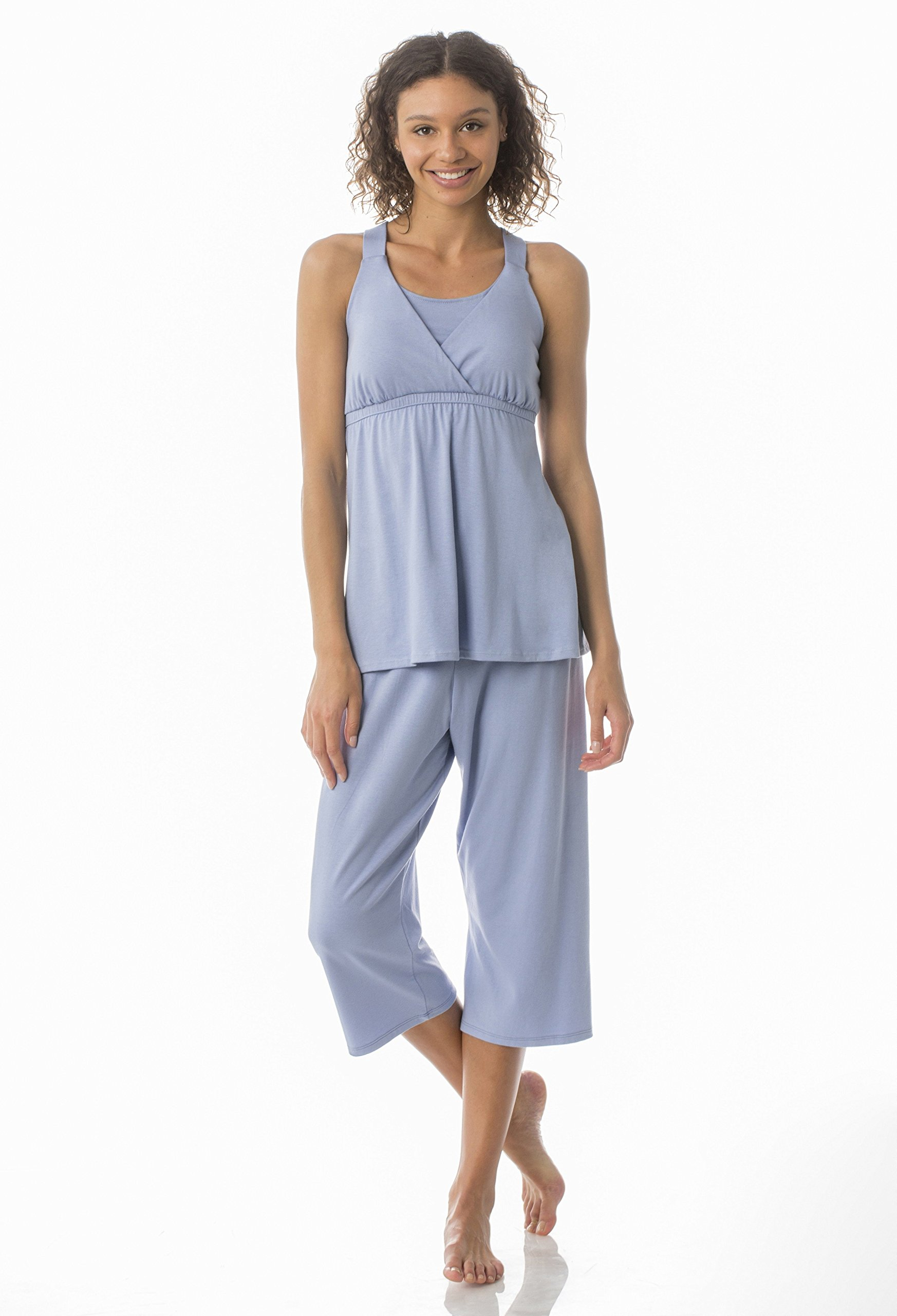 Kinzie PJ - Women's Cropped Nursing/Maternity Pajama Set - Made in The USA