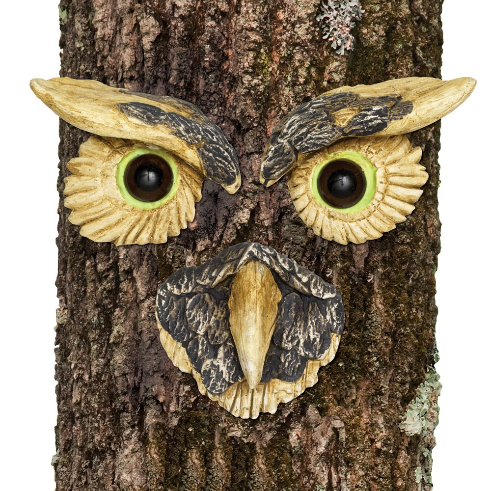 Bits and Pieces - Owl Face Tree Hugger - Garden Peeker Yard Art - Outdoor Tree Hugger Sculpture Whimsical Tree Face Garden Decoration