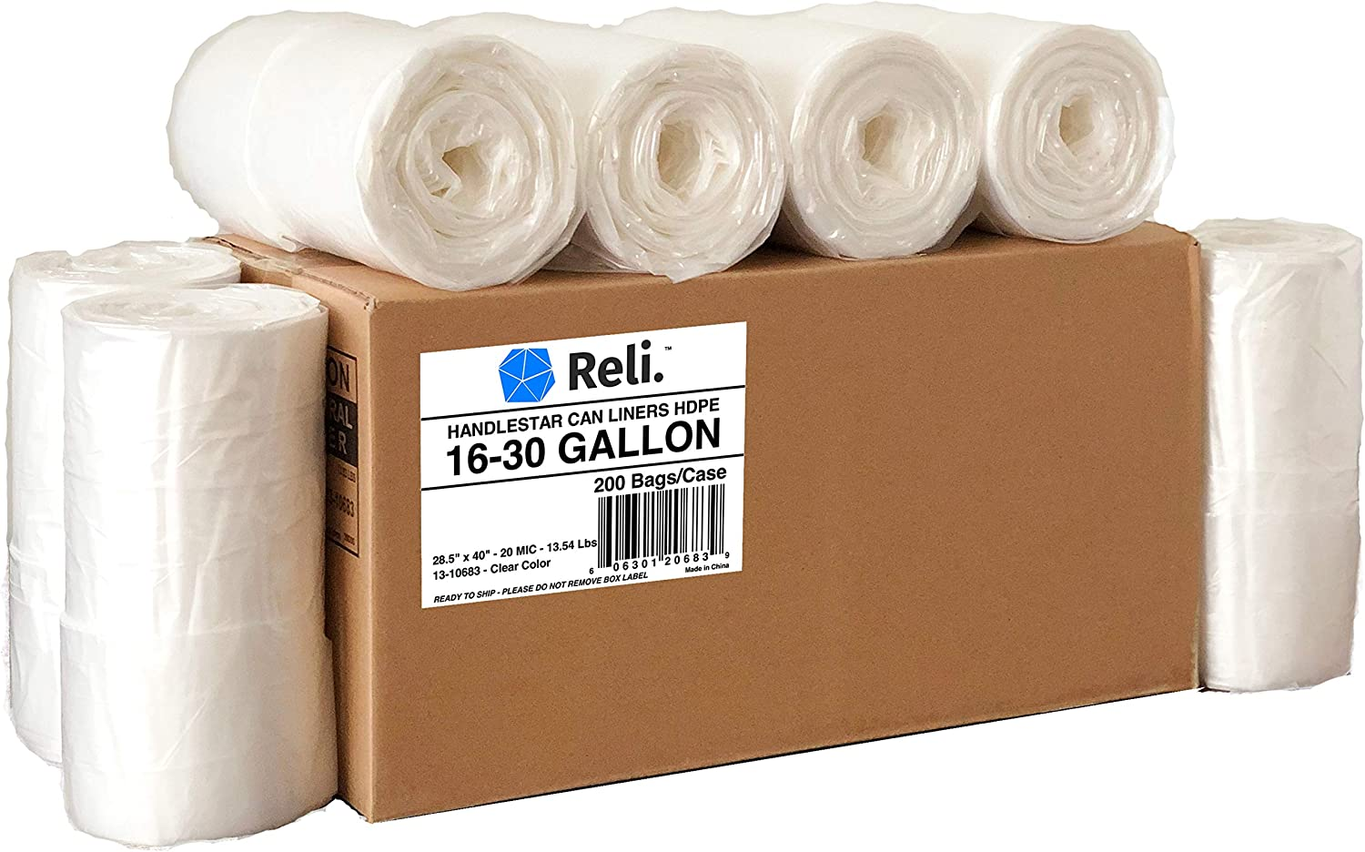 Reli. Trash Bags with Handles (16-30 Gallon) (200 Count Wholesale) - Double-Ply HandleStar Garbage Bags (Clear), Handle Tie Can Liners with 16 Gallon (16 Gal) to 30 Gallon (30 Gal) Capacity