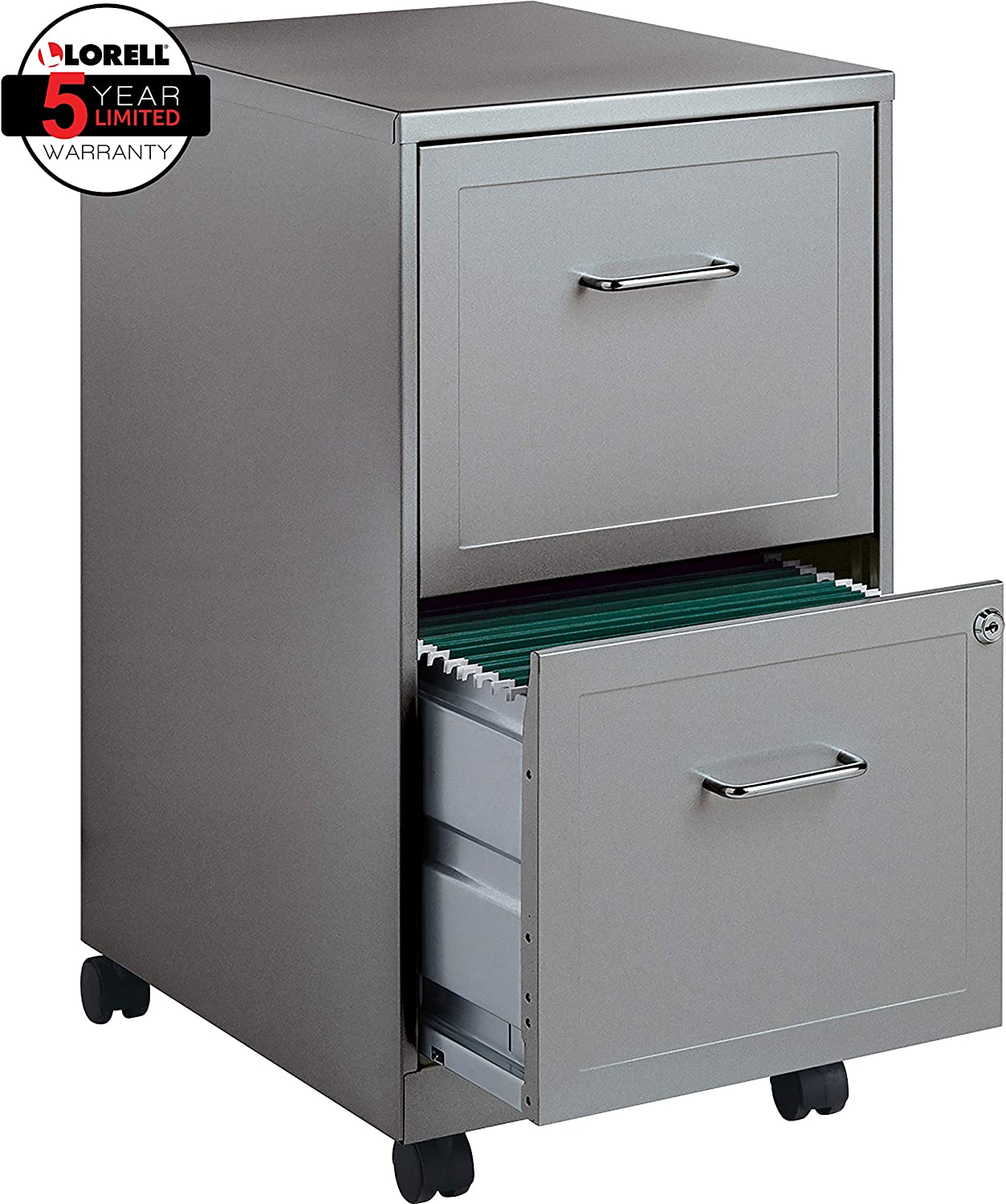 Lorell 35 35-Drawer Mobile File Cabinet, 35-Inch Depth - Gray