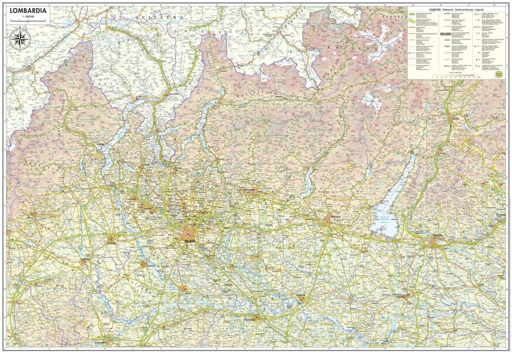 Lombardia Carta Regionale Murale [97x68 cm] [In piano - Senza aste di sostegno] Belletti