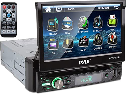 Pyle Single DIN Head Unit Receiver - In-Dash Car Stereo with 7 Multi-Color Touchscreen Display
