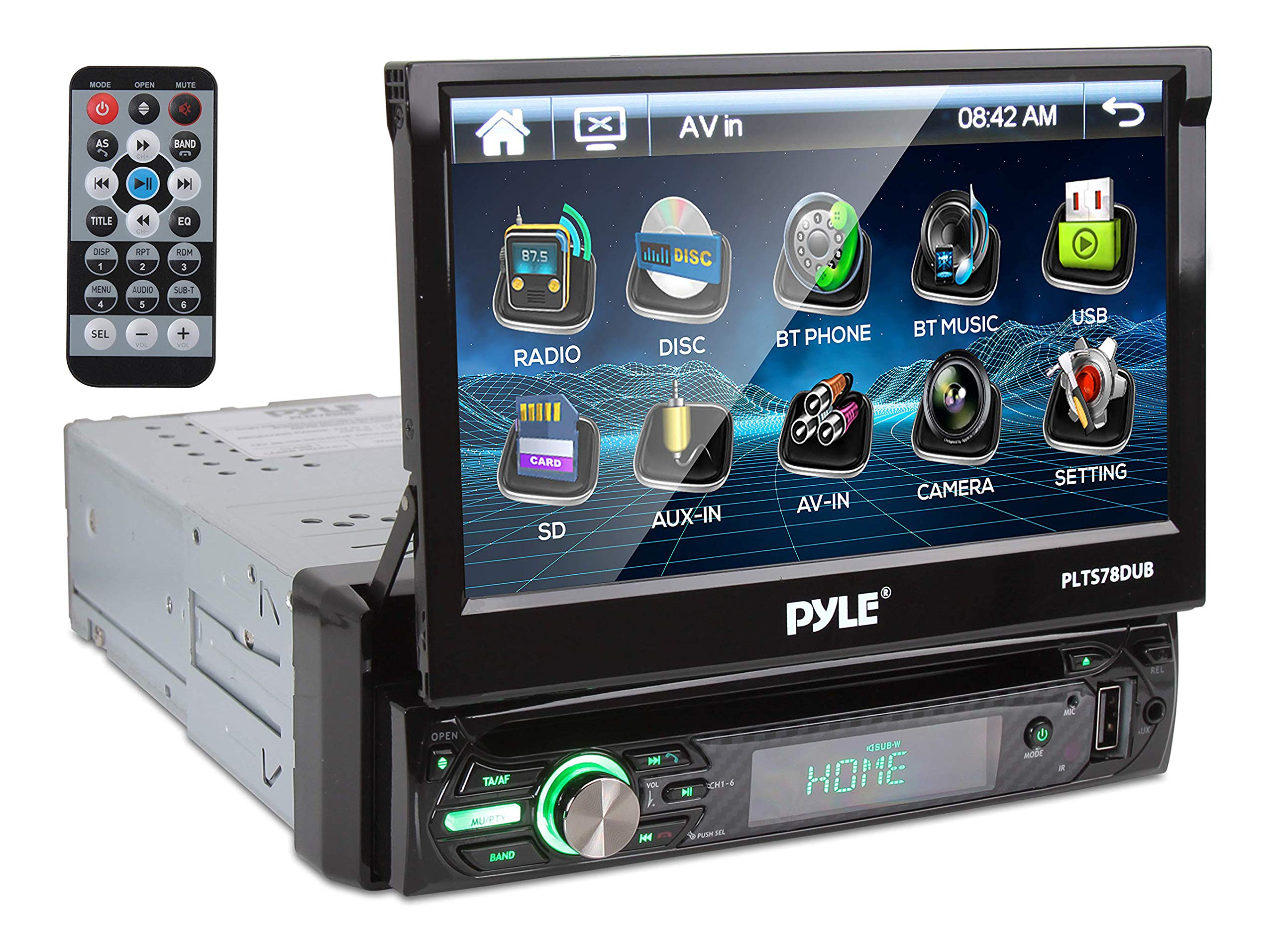 "Pyle Single DIN Head Unit Receiver - In-Dash Car Stereo with 7"" Multi-Color Touchscreen Display - Audio Video System with Bluetooth for Wireless Music Streaming & Hands-free Calling - PLTS78DUB, BLACK"