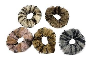 52ee3df8399 Otyou 5 Pack Cute Soft Rabbit Fur Leopard Print Hair Scrunchies Elastic Hair  Bands Ties Scrunchy