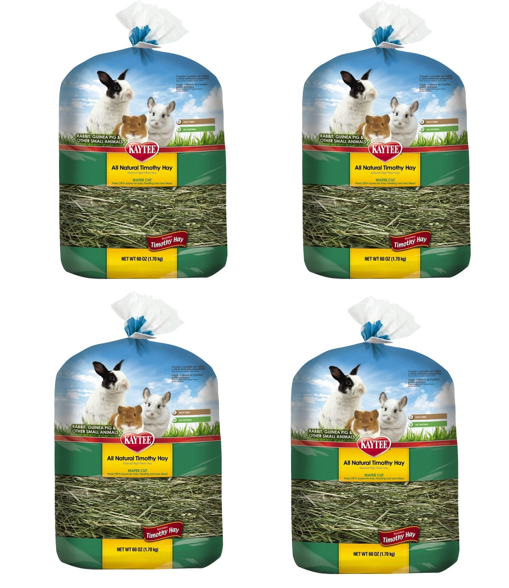 Kaytee All Natural pcyTDw Timothy Wafer-Cut Hay for Rabbits & Small Animals, 4 Pack