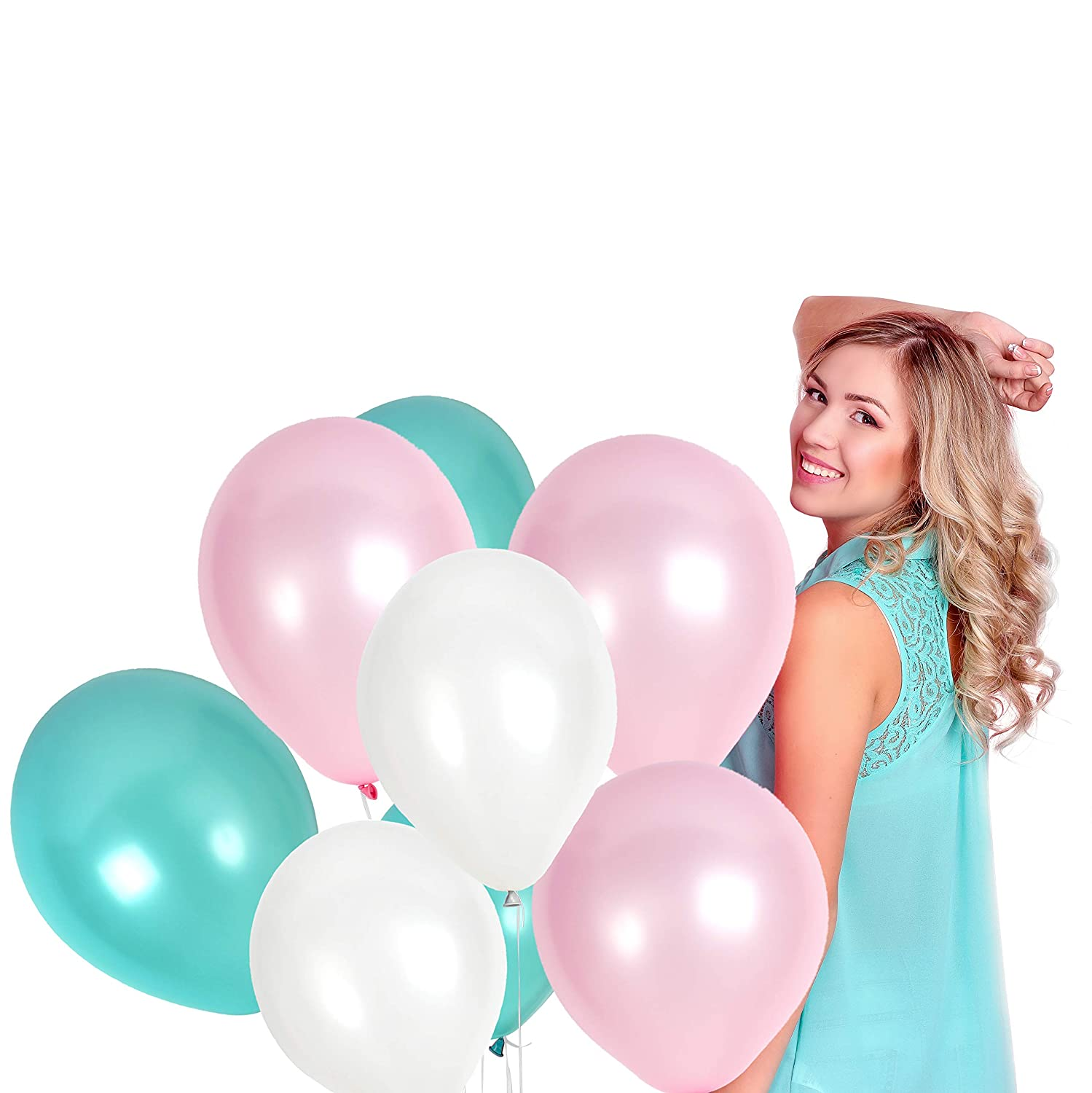 (Mint/Peach/White) - 100pcs White Assorted Latex Balloons + 65 Yards Crimped Curling Ribbon Pieces Set Top Quality Thick Party Decorations For Birthdays Anniversaries Weddings by Treasures Gifted (Mint/Peach/White)   B0757XFR5B