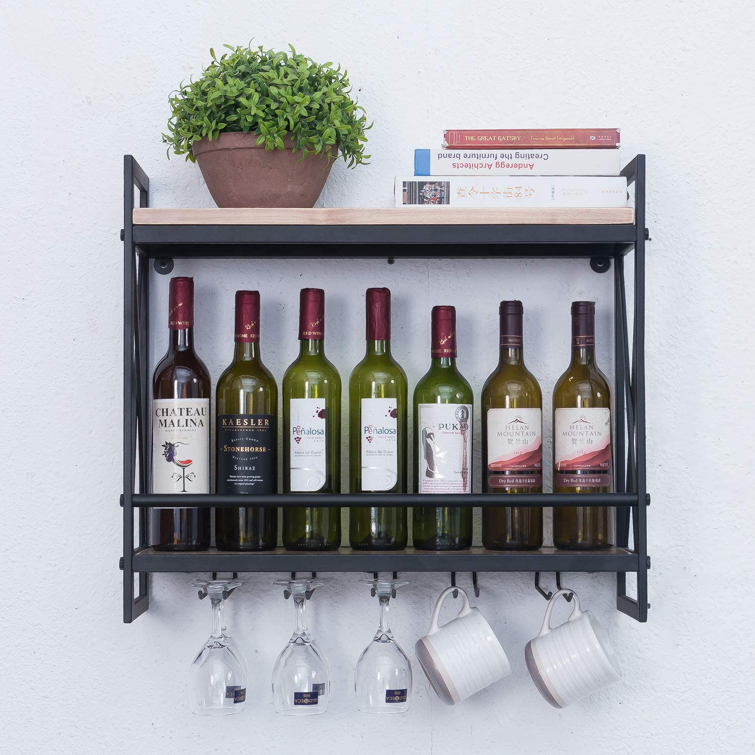 RUSTIC WALL 2 WINE BOTTLE AND 2 GLASS HANGER HOLDER