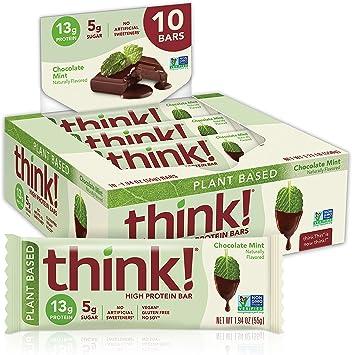 Think Thin High Protein Plant Based Bar, Mint Chocolate 10 Pack: Amazon.es: Salud y cuidado personal