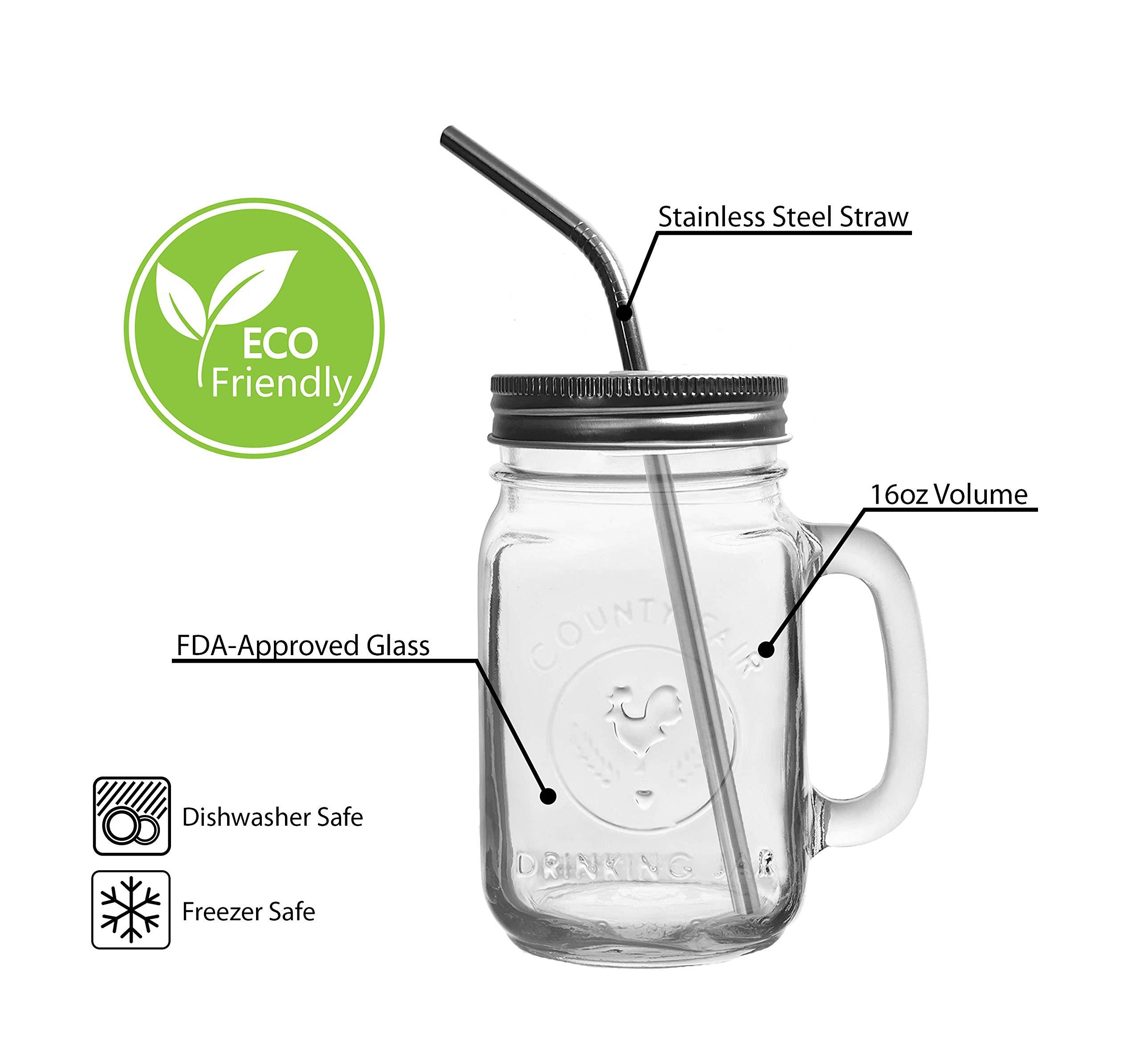 Mason Jar Mugs with Glass Handles and Metal Straws, Brimley 16oz Drinking Glasses Set of 4