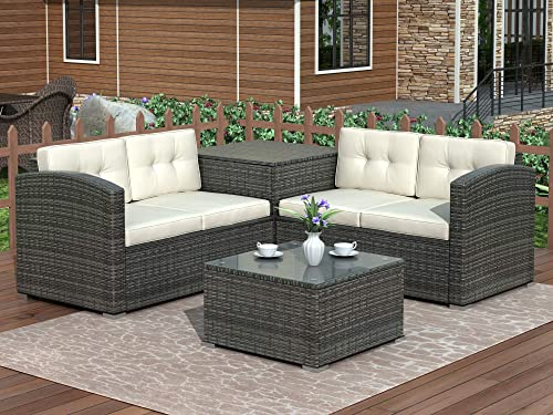 Merax 4-Piece Patio Furniture Set Wicker Rattan Outdoor Sofa Garden Lawn Cushioned Seat