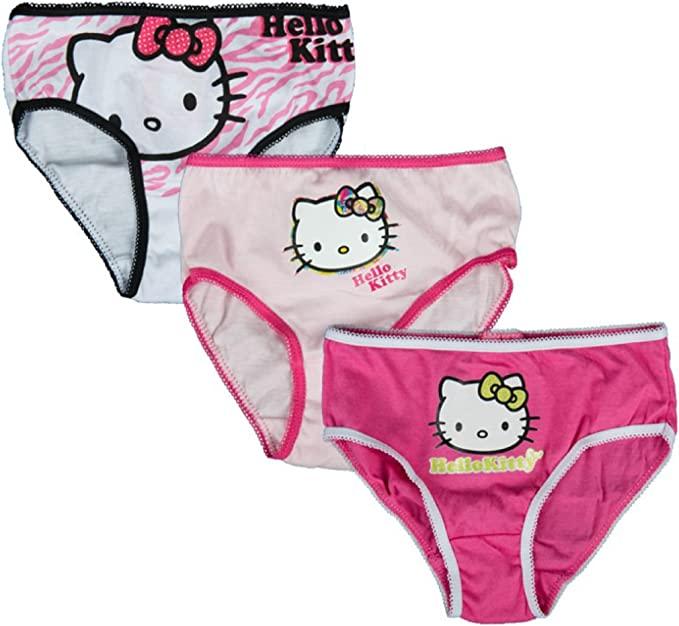 Girls Pink// White Age 2-8 Years BNWT Hello Kitty Pants// Briefs x 3