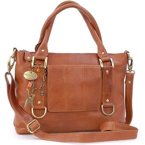 CATWALK COLLECTION - GALLERY - Bolso de mano con adornos metálicos - Cuero - Tostado: Amazon.es: Zapatos y complementos