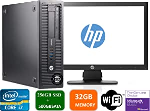 HP Prodesk 600 G1 SFF Slim Business Desktop Computer, Intel I7-4770 3.40 GHz, 32GB RAM, 256GB SSD + 500gb SATA Drive,with 22