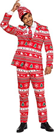 Suitmeister Christmas Suits for Men L Christmas Trees Ugly Xmas Sweater Costumes Include Jacket Pants /& Tie