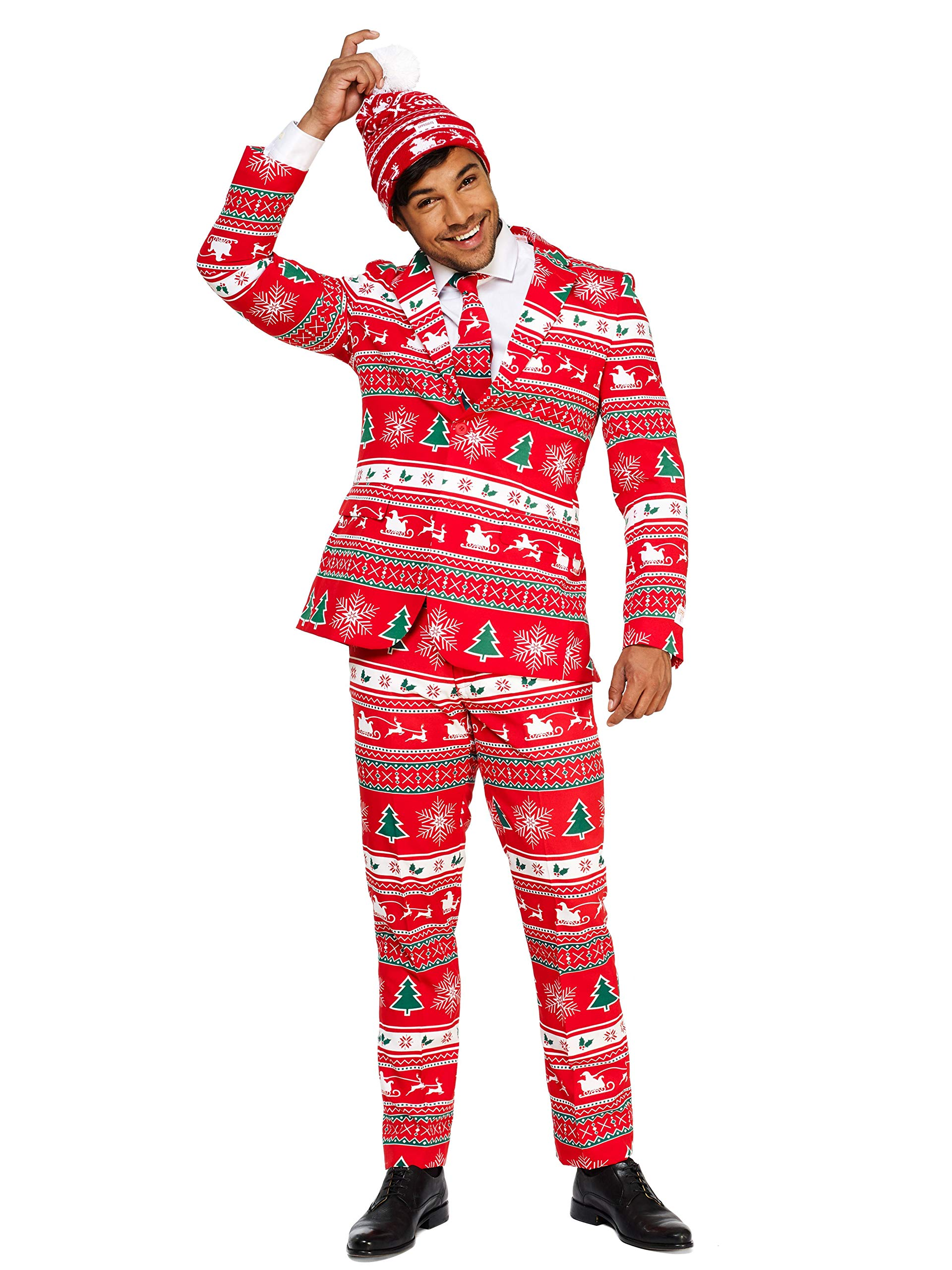 52ee688967d1a2 OppoSuits Christmas Suits for Men in Different Prints – Ugly Xmas Sweater  Costumes Include Jacket Pants ...