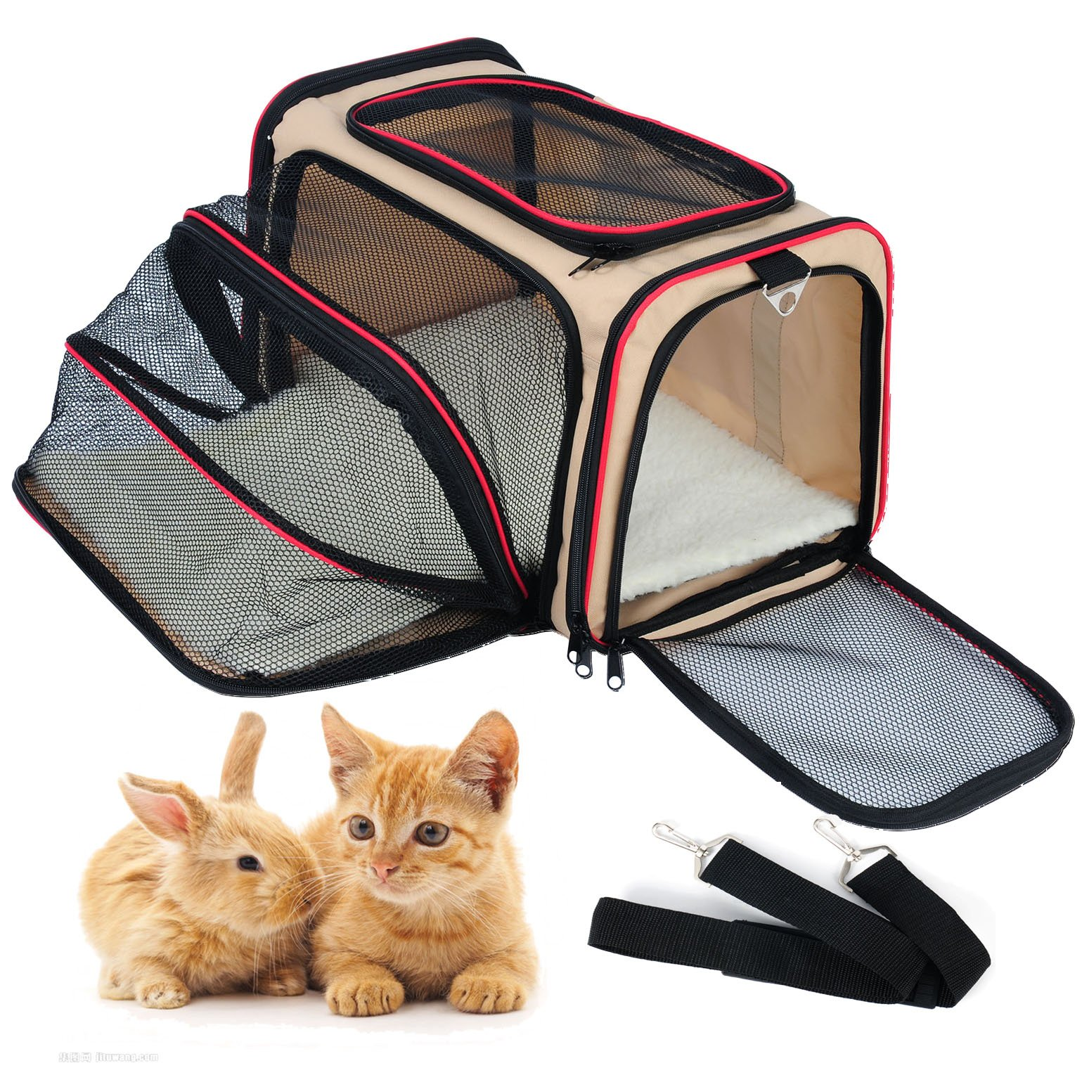 WOLTU Expandable Soft-sided Pet Carrier Pet Tote for Cats Small Dogs and Puppies,Beige, PCS04bgeS1-x
