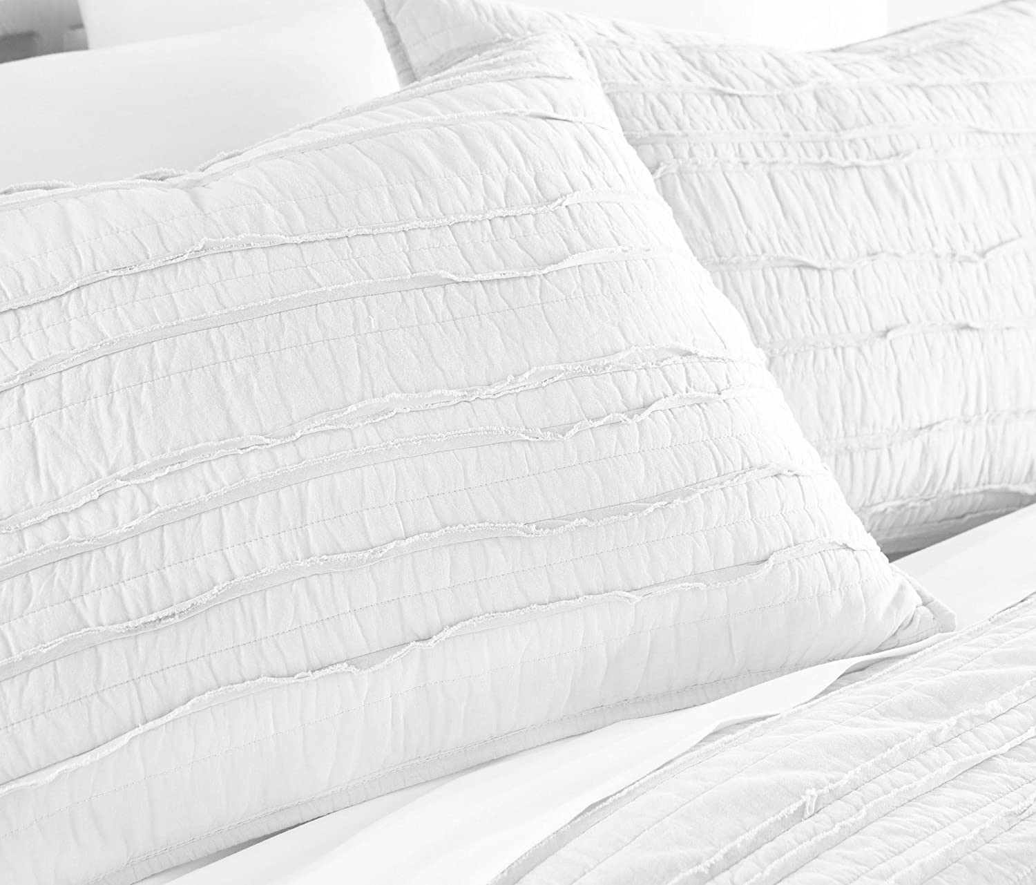 Chezmoi Collection Katy 3-piece Solid Raw Edge 100/% Cotton Pre-Washed Soft-Finished Quilt Set Queen, Paloma Gray Green Living Group