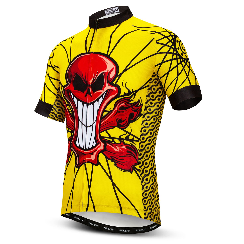 Amazon.com  Mens Cycling Jersey Short Sleeves Mountain Bike Shirt MTB Top  Zipper Pocket Reflective Skull  Clothing 6f938a631