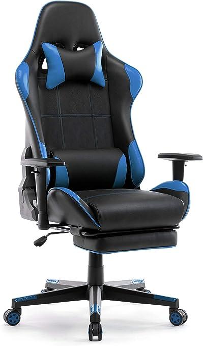 Todo para el streamer: IntimaTe WM Heart Silla Gaming, Silla Gamer con Reposapiés Silla Escritorio Giratoria Altura Ajustable Respaldo Inclinable hasta 135 ° PU (Azul)