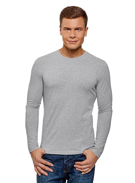 oodji Ultra Hombre Camiseta sin Etiqueta con Mangas Largas de Algodón: Amazon.es: Ropa y accesorios