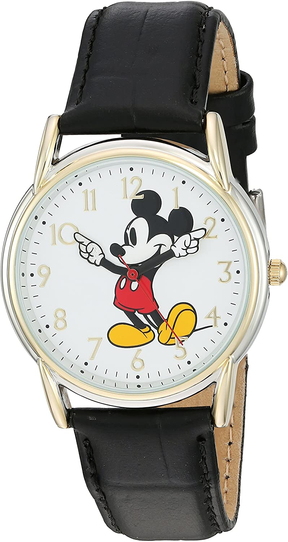 Disney Women's 'Mickey Mouse' Quartz Metal Watch, Color:Black (Model: W002755)