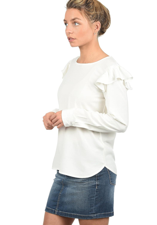 TALLA 42. Only Smilja Blusa Camisa Mangas Largas para Mujer con Cuello Redondo