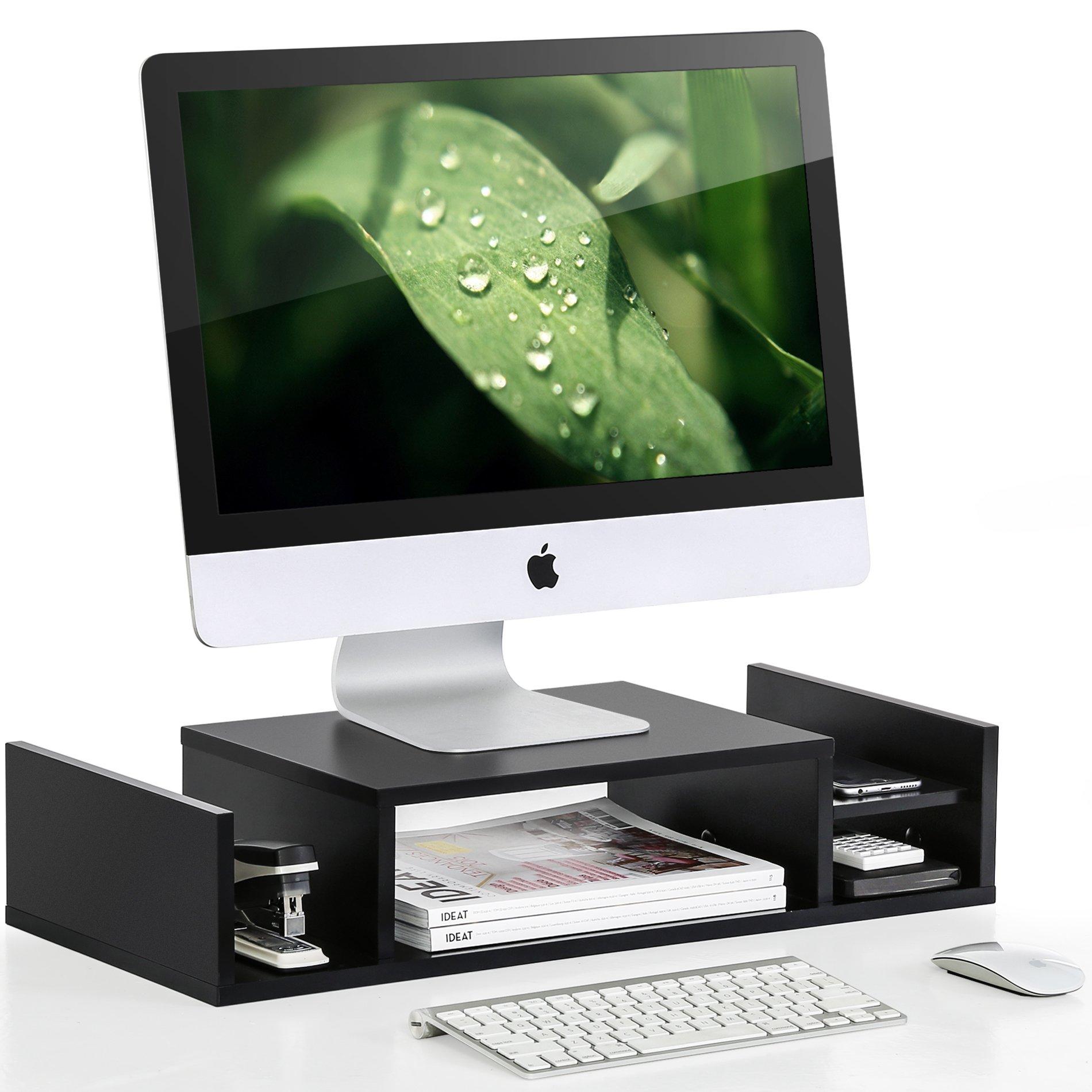 FITUEYES Wooden Adjustable Monitor Riser with Storage 2 Shelves Desktop Organizer DT306001WB