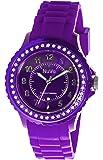 Nuvo - NU158 - Armbanduhr für Damen - Quartz - Analog - Violettfarbenes Armband aus Silikon - Violettfarbenes Zifferblatt - Swarovski Elemente und Diamanten - Modisch - Elegant - Stylish