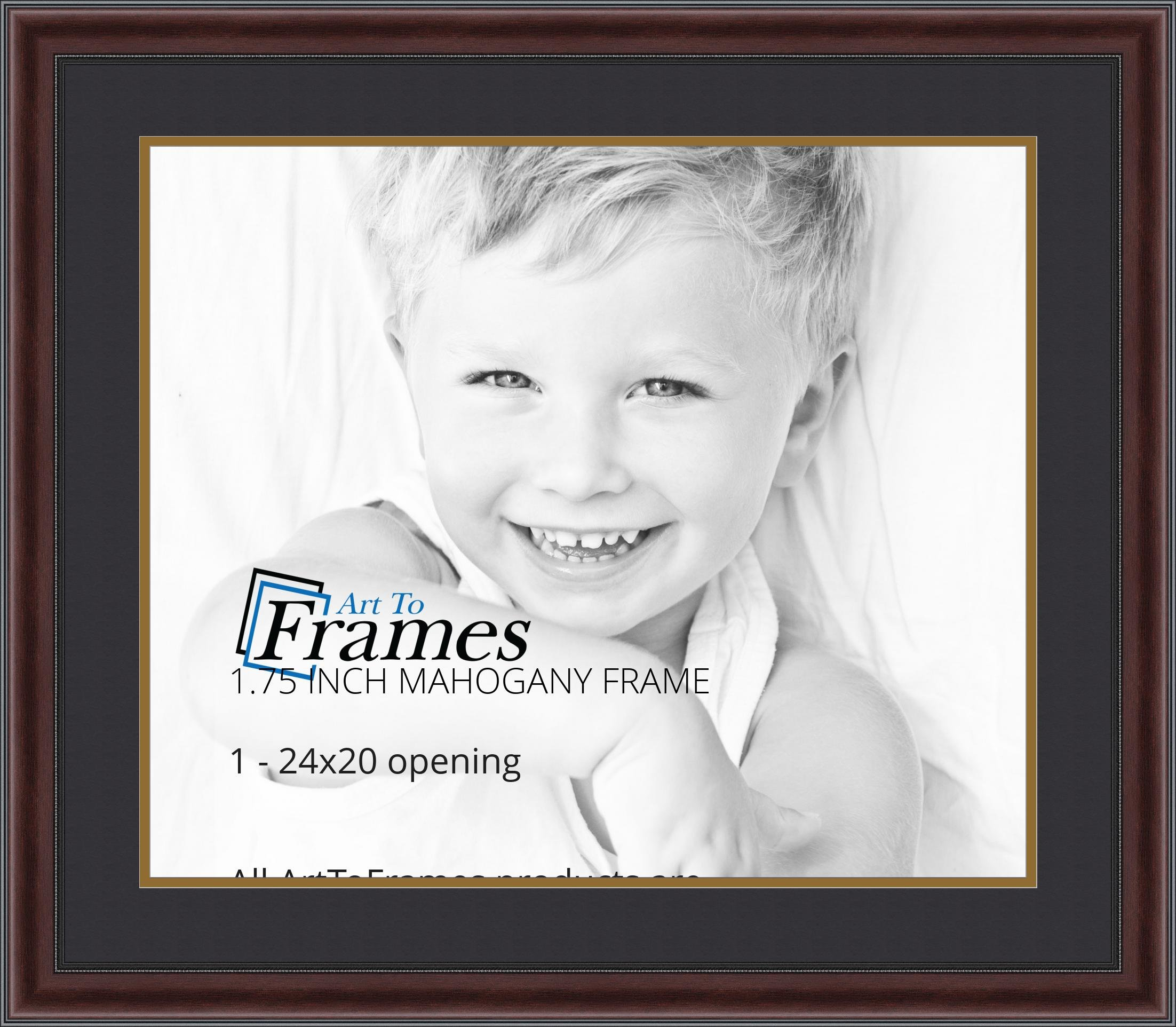 ArtToFrames Diploma Frame Mahogany and Burgundy With Beaded Lip with 1 - 20x24 Opening, Double-Multimat-736-89/596-N9590