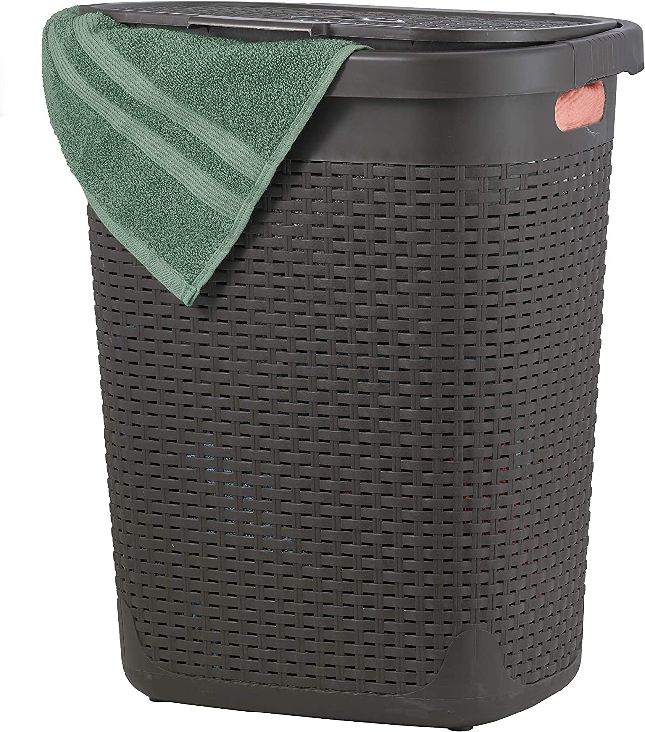 Wicker Laundry Hamper With Lid 50 Liter - Brown Laundry Basket 1.40 Bushel Durable Bin With Cutout Handles - Easy Storage Dirty Cloths in Washroom Bathroom, Or Bedroom. By Superio.