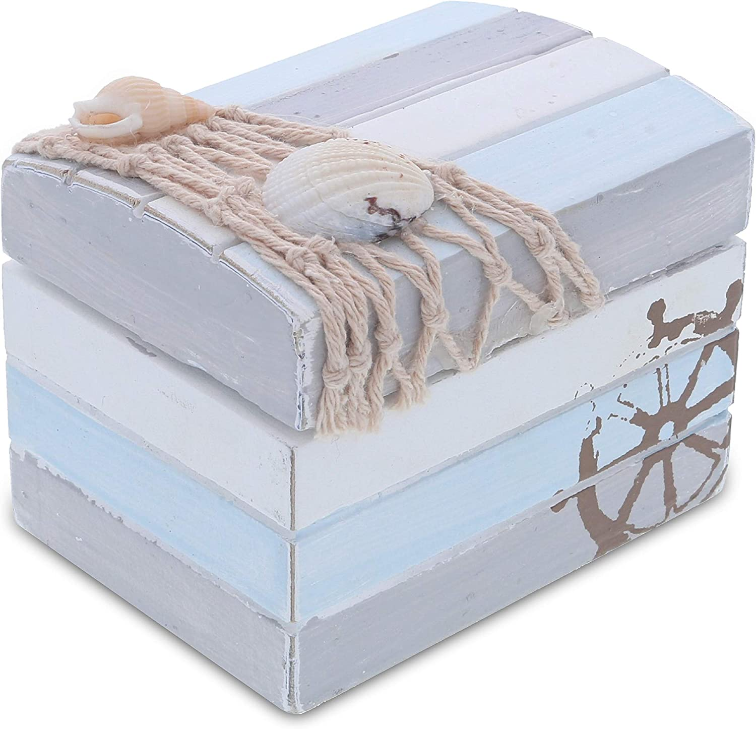 CoTa Global Moonlight Wooden Nautical Jewelry Box 3.7 Inch, Rustic Nautical Decor Trinket Storage with Hinged Lid, Beach Theme Decor & Ocean Party Decorations, Unique Beach Decor for Bedroom & Home