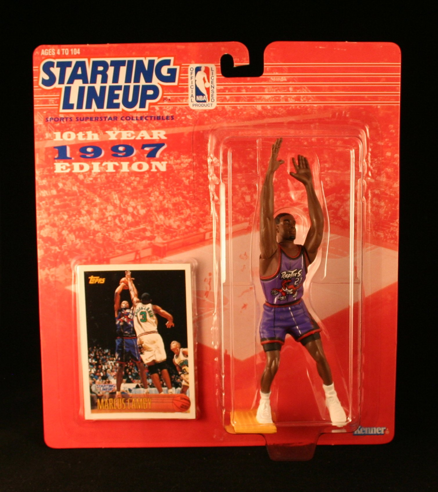 Starting Lineup MARCUS CAMBY / TORONTO RAPTORS 1997 NBA Kenner Exclusive TOPPS Collector Trading Card