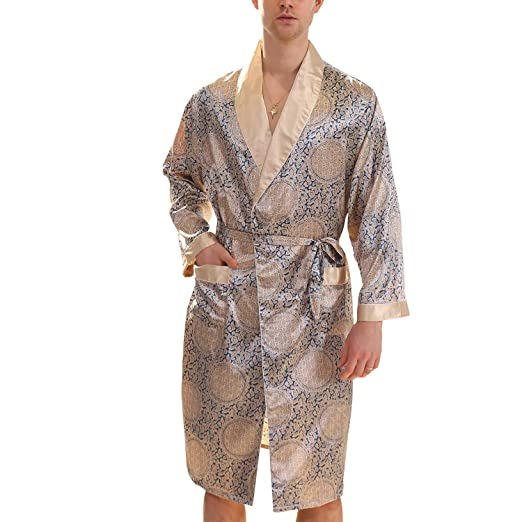 368e56cf40 Lu s Chic Men s Stain Kimono Robe Silk Bathrobe Soft Luxrious Long Sleeves  Pockets Loungewear Blue US