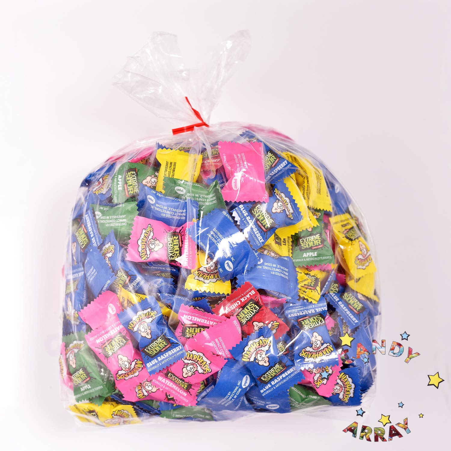 Warheads Extreme Sour Hard Candy 4 Full Pounds Bulk Pack - Approx. 425 Pieces 4Lbs Assorted Candy Flavors in Bulk - 5 Flavors Black Cherry, Watermelon, Apple, Blue Raspberry