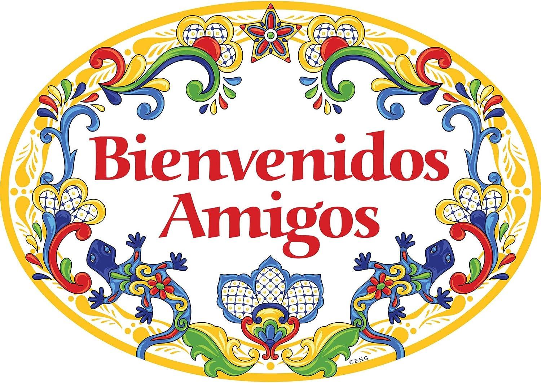 Essence of Europe Gifts E.H.G Bienvenidos Amigos Hispanic Traditional Geckos Artwork Spanish Welcome Friends 11x8 Ceramic Door Sign by E.H.G.