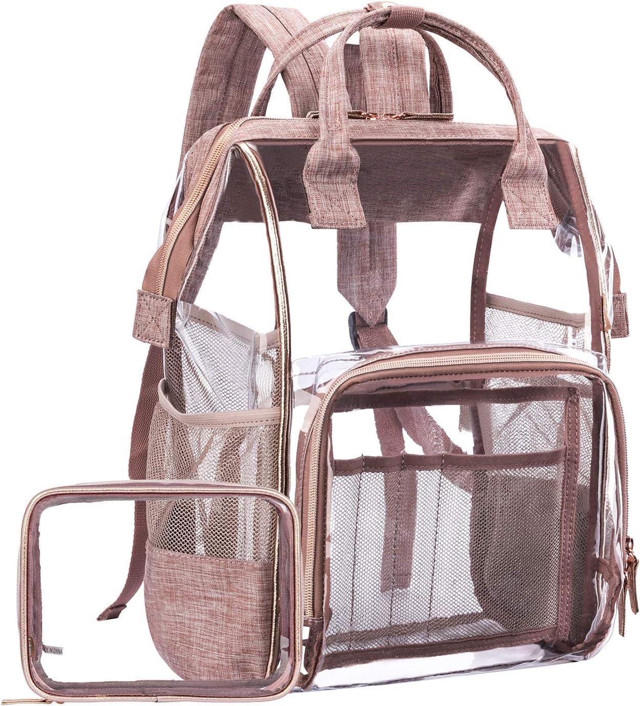 LOKASS Large Clear Backpack Transparent Multi-pockets Backpacks Outdoor Backpack Fit 15.6 Inch Laptop Safety Travel Rucksack with Rose Gold Trim-Adjustable Straps Mesh Side Rose Gold