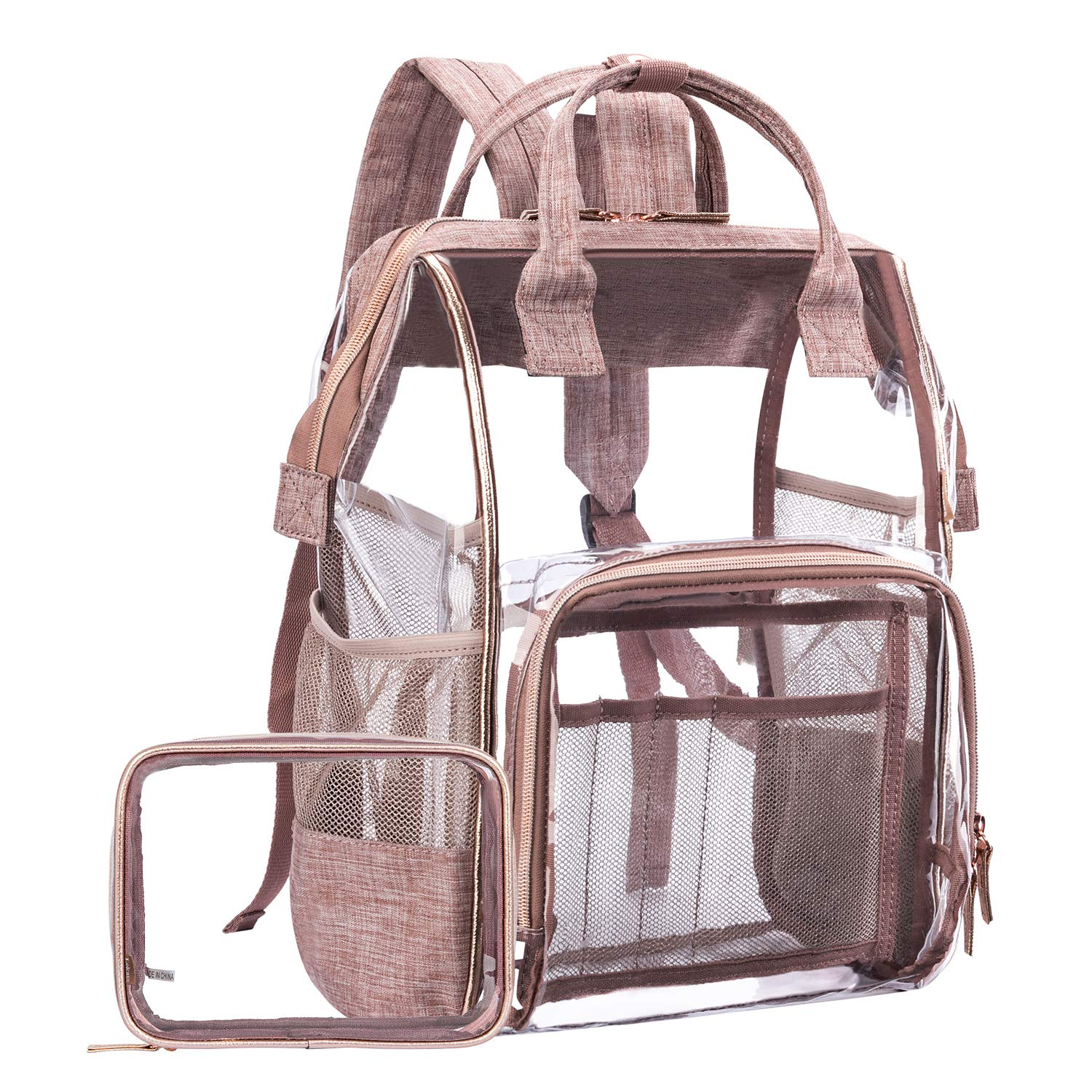 LOKASS Large Clear Backpack Transparent PVC Multi-Pockets School Backpacks/Outdoor Backpack Fit 15.6 Inch Laptop Safety Travel Rucksack with Rose Gold Trim-Adjustable Straps & Mesh Side(Rose Gold)