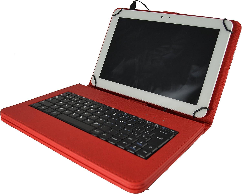 Theoutlettablet® Funda Roja con Teclado extraíble en español (Incluye Letra Ñ) para Tablet Woxter QX 103 / QX 105 / SX 100 / SX 110 / SX 200 / SX 220 ...