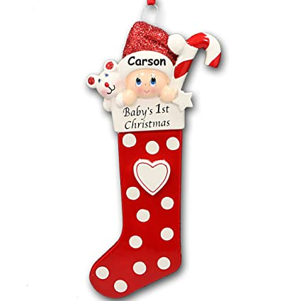 Image Unavailable. Image not available for. Color  Personalized Baby s  First Christmas Baby in Stocking with Glittered Santa Hat ... 15505d48347