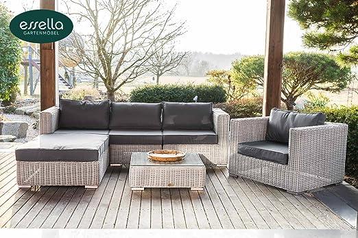 Jadella Cannes - Conjunto de muebles de jardín (ratán sintético, 4 personas), diseño vintage, color blanco: Amazon.es: Jardín