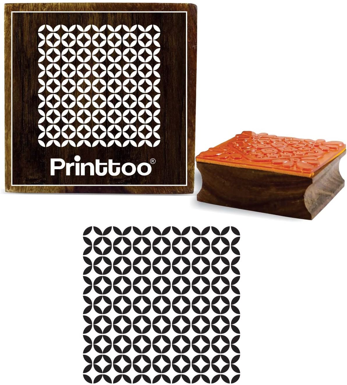 Printtoo Square Wooden Rubber Stamp Peace On Earth Font Diary Card Print Block-3 x 3 Inches