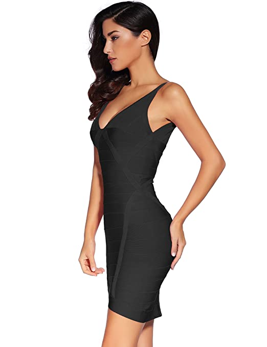 b68052f50f26c Meilun Women's Thick Stretch V-Neck Bandage Bodycon Dress