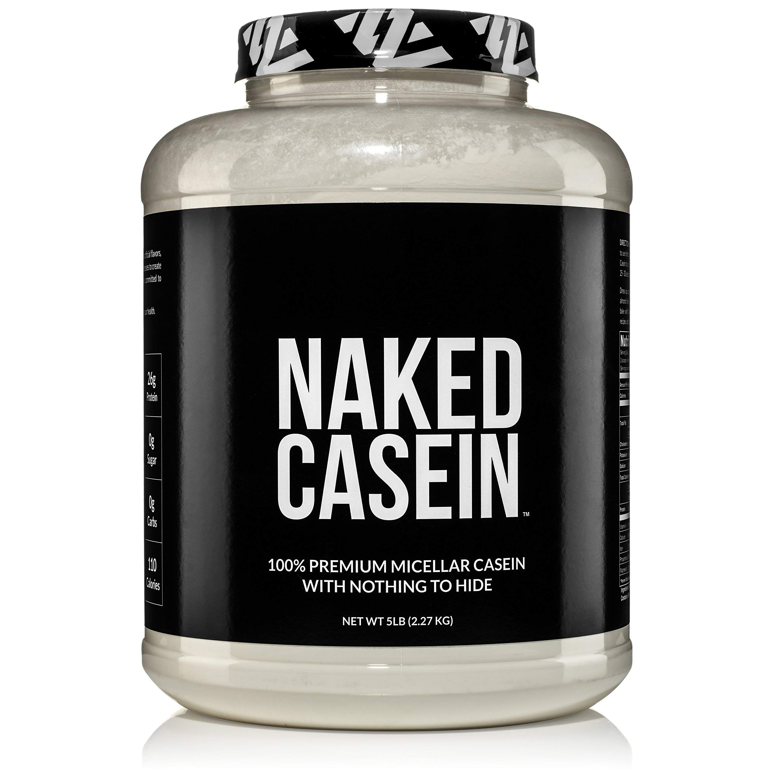 Naked Casein - 5LB 100% Micellar Casein Protein Powder from US Farms - Bulk, GMO-Free, Gluten Free, Soy Free, Preservative Free - Stimulate Muscle Growth - Enhance Recovery - 76 Servings by NAKED nutrition