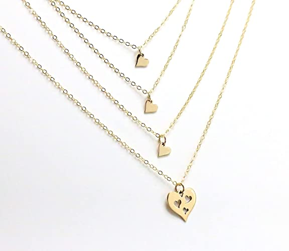 58f16dfac25d5 Amazon.com: Mother of 3 Daughters Necklace Set, 4 Gold Heart ...